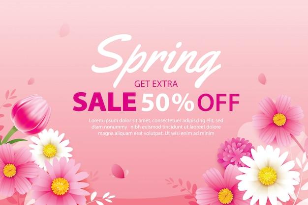 Wiosenna wyprzedaż transparent z kwitnących kwiatów szablon tło