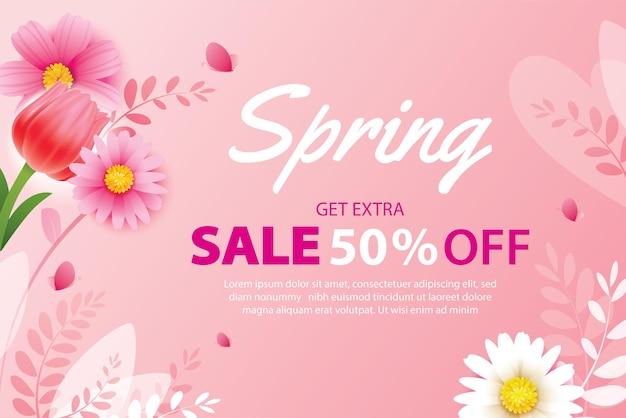 Wiosenna wyprzedaż transparent z kwitnącymi kwiatami