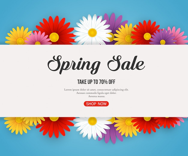 Wiosenna wyprzedaż transparent z pięknymi kolorowymi kwiatami