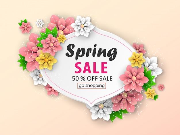 Wiosenna wyprzedaż transparent z pięknymi kwiatami.
