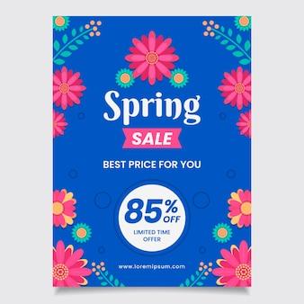 Wiosenna wyprzedaż ulotka płaski kształt szablonu najlepsze ceny