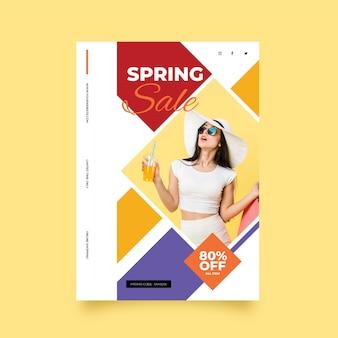 Wiosenna wyprzedaż ulotka z szablonem fotograficznym