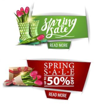 Wiosenne banery sprzedaży z przyciskami i bukiet tulipanów