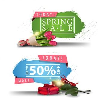 Wiosenne banery sprzedaży z przyciskami