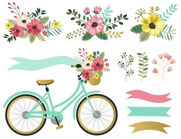 Wiosenne elementy graficzne z kwiatowym motywem.