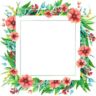Wiosenne kwiaty akwarela kwadratowe ozdobne ramki. jasne liście z czerwonymi i żółtymi kwiatami.
