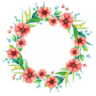 Wiosenne kwiaty dekoracyjne okrągłe ramki akwarela. jasne liście z czerwonymi i żółtymi kwiatami.