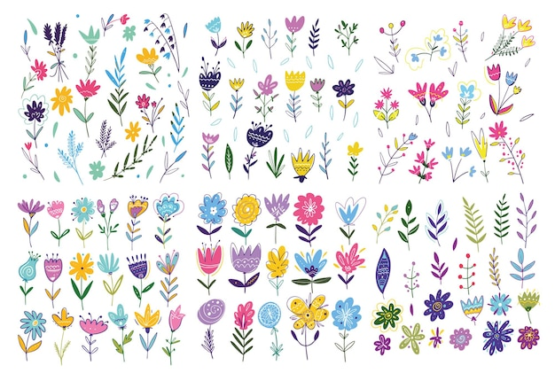 Wiosenne kwiaty duży zestaw. ręcznie rysowane ilustracji wektorowych. styl kreskówki. odosobniony