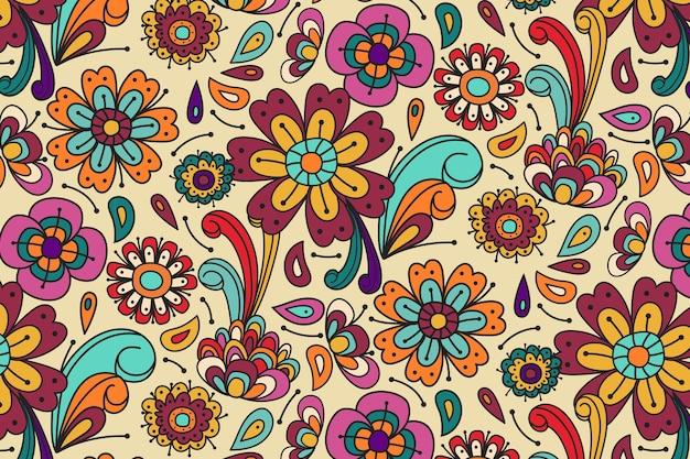 Wiosenne kwiaty i liście groovy kwiatowy wzór