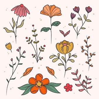 Wiosenne kwiaty i liście w kropki