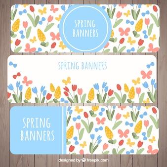 Wiosenne kwiaty i motyle banery