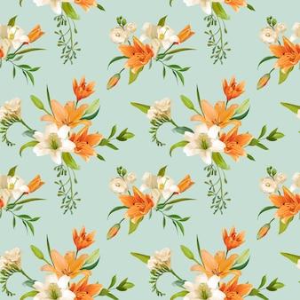 Wiosenne kwiaty lilii tła bez szwu