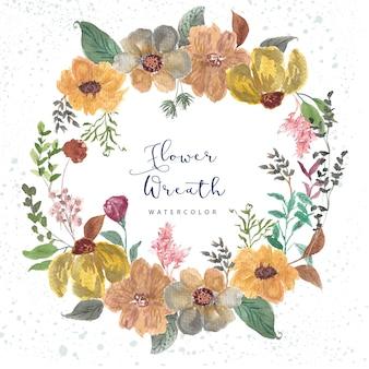 Wiosenne kwiaty liście wieniec dekoracji akwarela