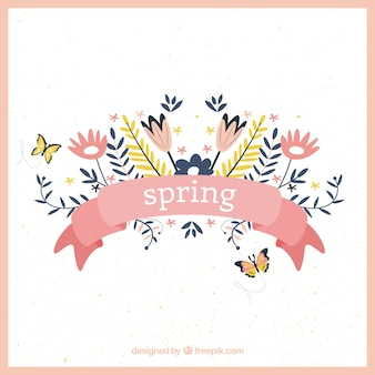 Wiosenne kwiaty projektowe wstążką