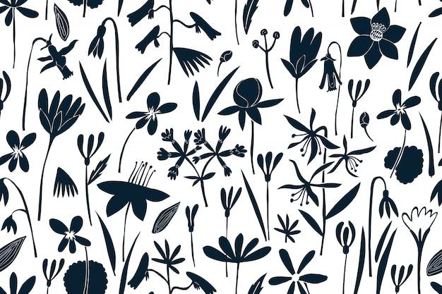 Wiosenne kwiaty wzór. nadruk w stylu skandynawskim. ręcznie rysowane ilustracje