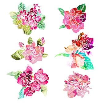 Wiosenne kwiaty z teksturą tuszu alkoholowego na tle