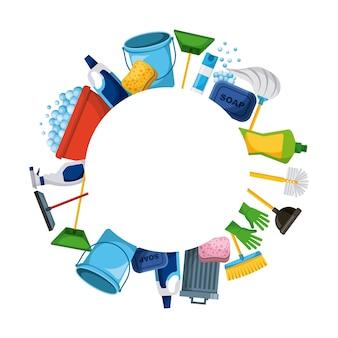 Wiosenne porządki dostarczają okrągłe ramowe narzędzia z housecleaning tle