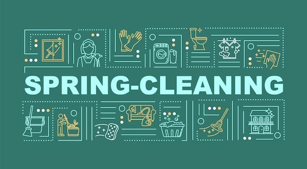 Wiosenne porządki słowo pojęć transparent. sprzątanie i dezynfekcja. oczyść dom. infografiki z liniowymi ikonami na zielonym tle. typografia na białym tle. ilustracja wektorowa konturu rgb