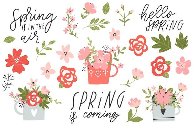 Wiosenne ręcznie rysowane elementy z napisami z kwiatów wieńce i inne
