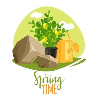 Wiosenne rośliny ogrodowe napis ilustracja