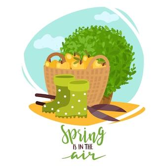 Wiosenne Rośliny Ogrodowe Napis Ilustracja Premium Wektorów
