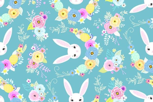 Wiosenne tło wielkanocne z słodkie króliczki, jajka i kwiaty do projektowania tapet i tkanin. ilustracja wektorowa