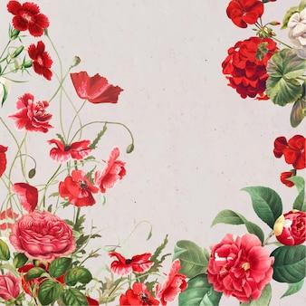 Wiosenne tło z czerwoną obwódką kwiatową