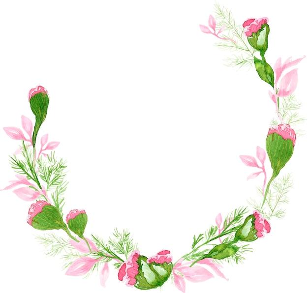 Wiosenny akwarela różowy wieniec z goździków