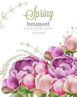 Wiosenny bukiet kwiatów piwonii i tulipanów w stylu przypominającym akwarele