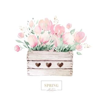 Wiosenny bukiet kwitnących kwiatów z zielonymi liśćmi w drewnianym pudełku. malarstwo akwarela. ręcznie rysowane różowy na białym tle kwiatowy wzór