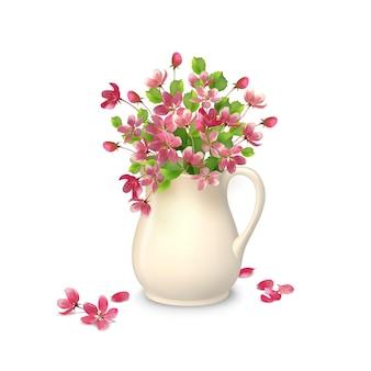Wiosenny bukiet w ceramicznym dzbanku