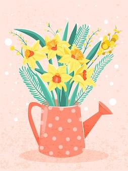 Wiosenny bukiet żółtego narcyza i mimozy w konewkach