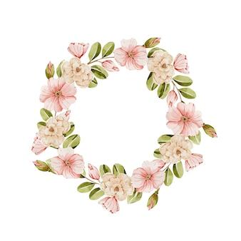 Wiosenny delikatny wieniec akwarelowy z różowymi kwiatami