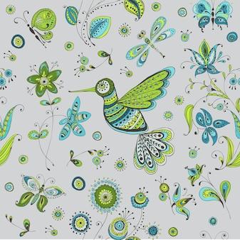 Wiosenny i letni ptak doodles