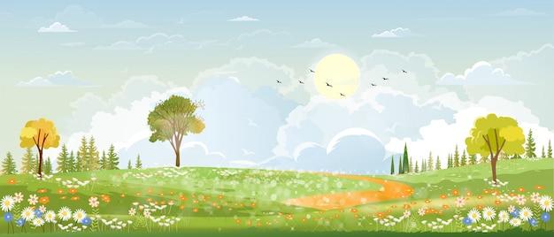 Wiosenny krajobraz na wsi z zieloną łąką na wzgórzach z niebieskim niebem, krajobraz letni lub wiosenny, panoramiczna wioska z polem trawy i kwiatami, naturalne tło wakacje