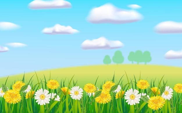 Wiosenny krajobraz wiejski krajobraz, kwitnące stokrotki mlecze.
