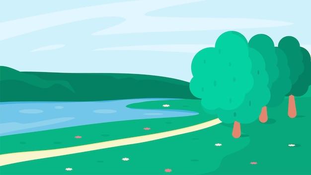 Wiosenny krajobraz z małym jeziorem