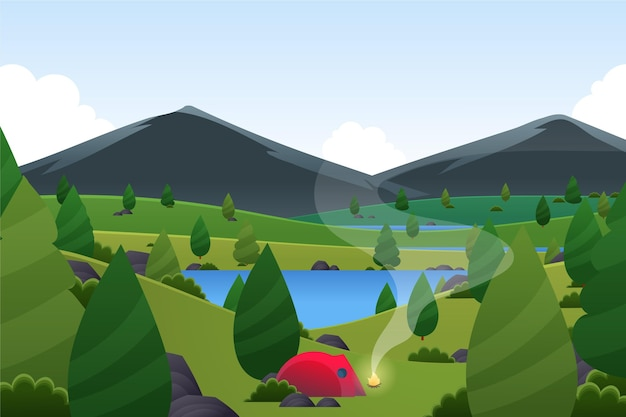 Wiosenny krajobraz z namiotem i górami