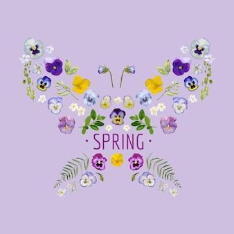 Wiosenny kwiatowy projekt graficzny na koszulkę