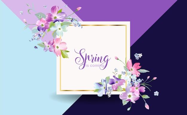 Wiosenny kwiatowy projekt graficzny z kwiatami derenia dla mody, plakatu, koszulki, banera, kartki z życzeniami, zaproszenia