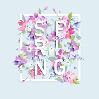 Wiosenny kwiatowy projekt graficzny z kwiatami derenia do druku mody, plakatu, koszulki, banera, kartki okolicznościowej, zaproszenia