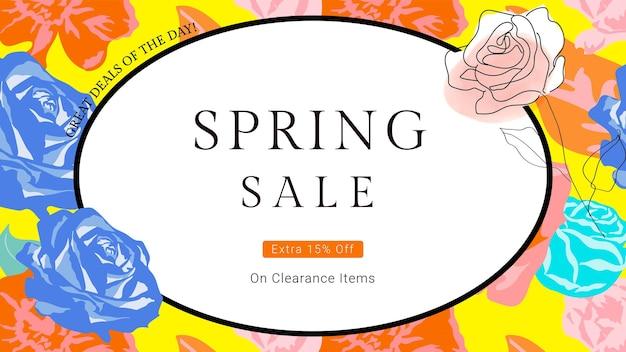 Wiosenny kwiatowy szablon wyprzedaż z kolorowym banerem reklamowym mody