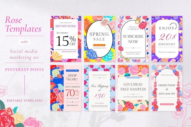 Wiosenny kwiatowy wyprzedaż szablon wektor z kolekcją banerów reklamowych w kolorowe róże