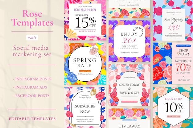 Wiosenny kwiatowy wyprzedaż szablon wektor z kolorowymi różami moda zestaw reklam w mediach społecznościowych