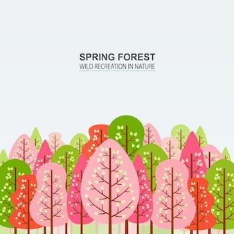 Wiosenny las z różowymi, czerwonymi i zielonymi drzewami.
