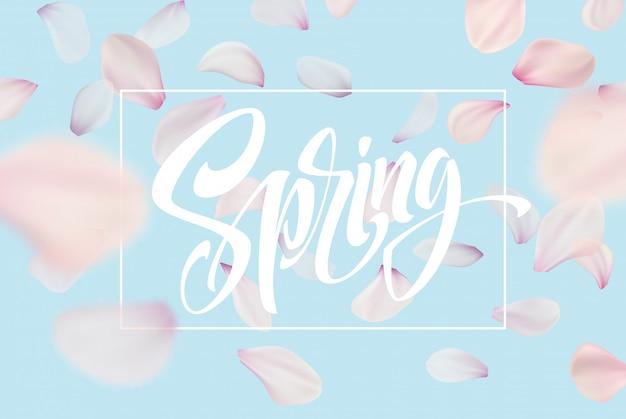 Wiosenny napis. kolor różowy kwiat wiśni sakura