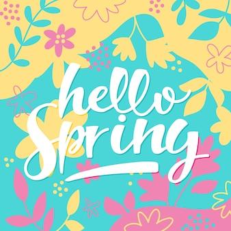 Wiosenny napis z ciągnione kwiaty