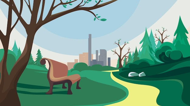 Wiosenny park i miasto. piękny krajobraz przyrody.