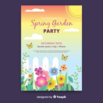 Wiosenny plakat party ogród