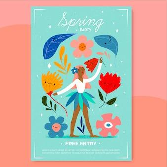 Wiosenny plakat party z kobietą tańczącą między kwiatami